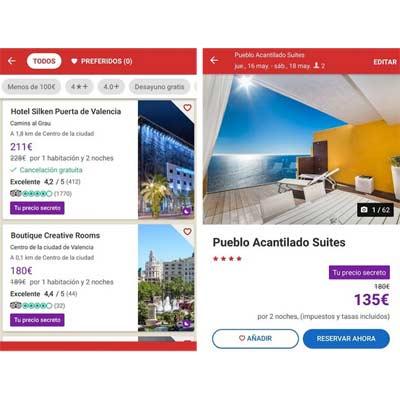Aplicación Hoteles.com