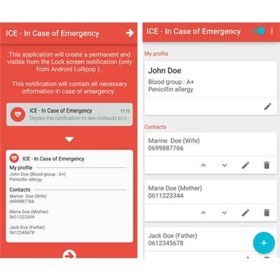 Aplicación ICE - En caso de emergencia