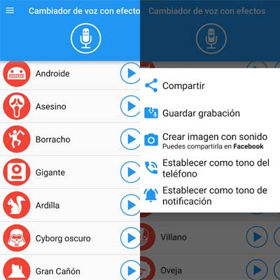Aplicación Cambiador de voz con efectos