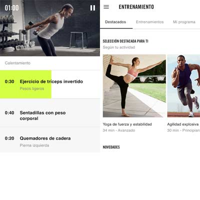 Aplicación Nike+ Training Club