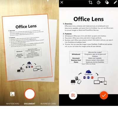 Aplicación Office Lens