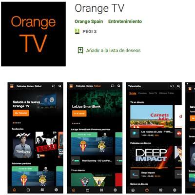 Aplicación Orange TV